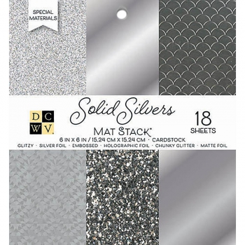 "DCWV - Glitter Papierblock Solid Silvers Mat Stack 6x6"""