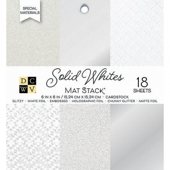 DCWV - Glitter Papierblock Solid Whites Mat Stack 6x6""