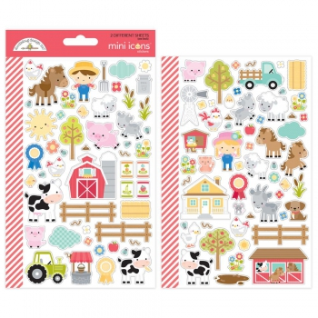 Doodlebug Design - Down on the farm Mini Icons Stickers