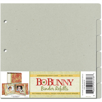 "Bo Bunny Graukarton 3-Ring Bare Naked Binder Pages 9x9"" (6 Stück)"