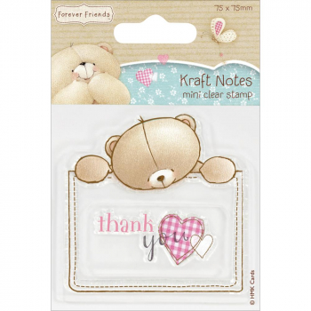 Docrafts - Forever Friends Kraft Notes Mini Clear Stamp Thank You