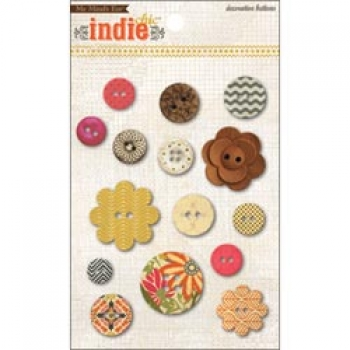 My Mind's Eye - Indie Chic - Ginger - Direction Decorative Buttons
