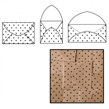 Maya Road - Kraft Note Envelopes - Brown Polka Dot