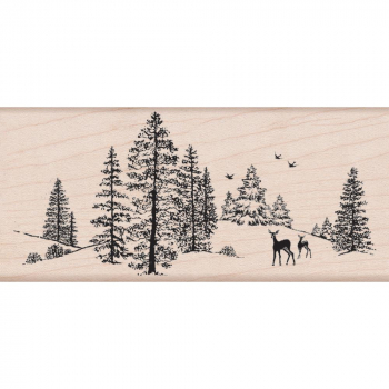 Hero Arts - Holzstempel Winter Szene Mounted Rubber Stamp Winter Scene