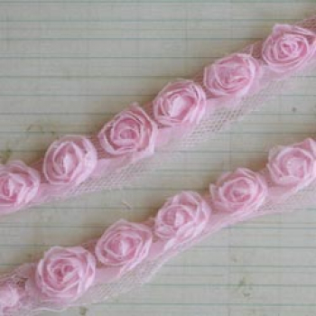 Maya Road - Small Organza Roses - Light Pink