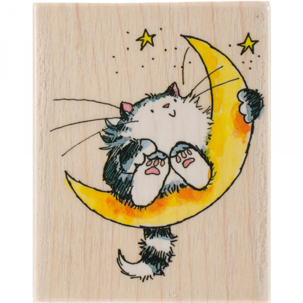 Penny Black - Holzstempel Cat On The Moon