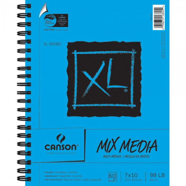 "Canson  XL Mix Media Watercolor Spiral Paper Pad 7x10"" 60 Blatt"