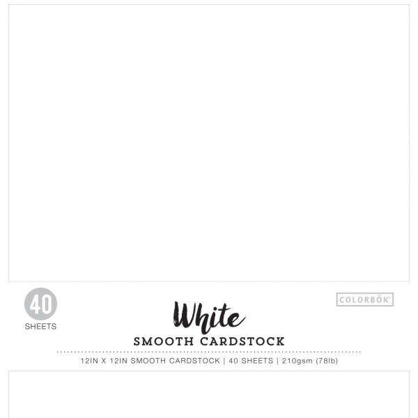 "Colorbök - Scrapbooking White Smooth Cardstock Pack 12x12"" 40 Sheets"