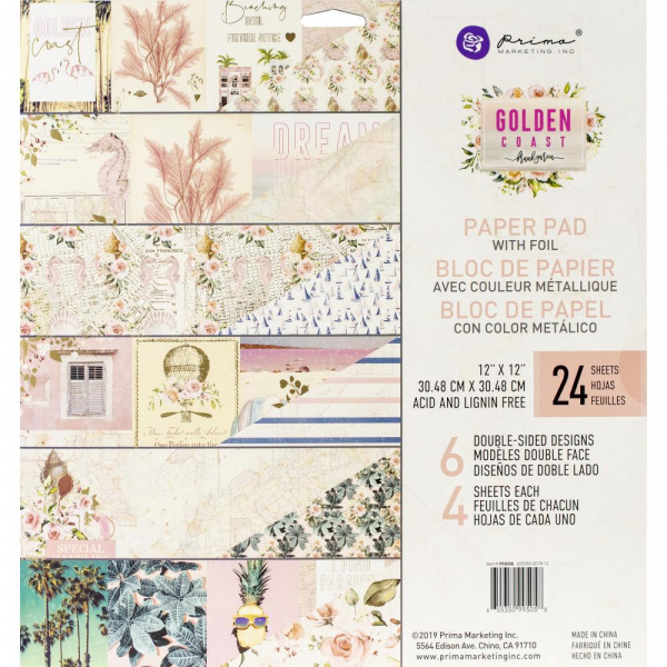 "Prima Marketing - Scrapbookingpapierblock Golden Coast Paper Pad 12x12"" 24 Blatt"