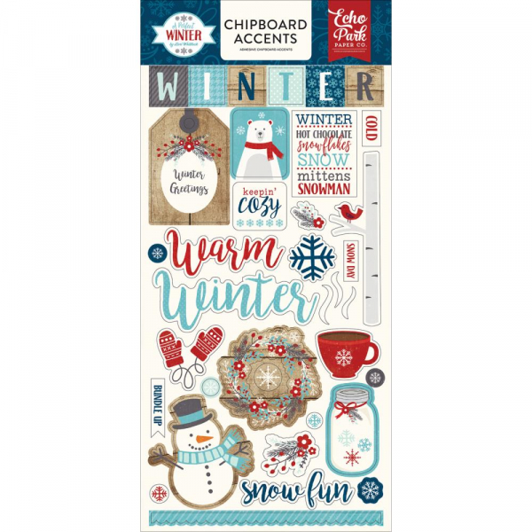 Echo Park Paper - A Perfect Winter Chipboard Accents 6x13""