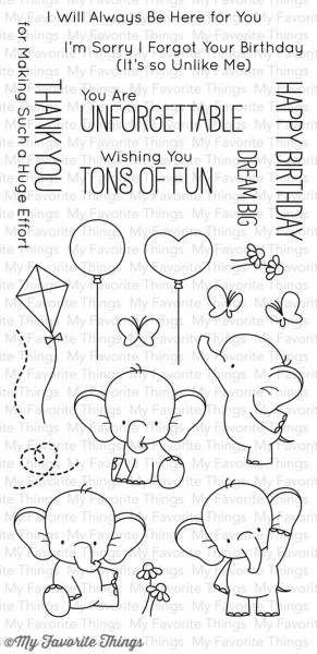 My Favorite Things - Clear Stamps Set Adorable Elephants 4x8""