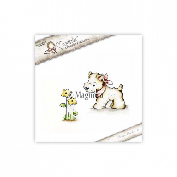 Magnolia - Clingstempel Little westie with Flower Cling Stamp