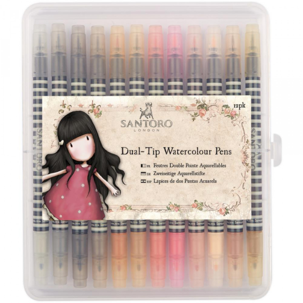 Docrafts - Santoro Gorjuss Dual-Tip Watercolour Pens Neutrals 12 Stück