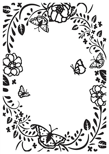 Nellie's Choice Prägeschablone Flower and Butterfly Embossing Folder 10.5x15.0cm