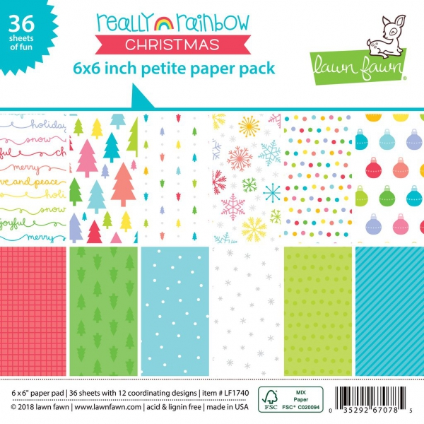Lawn Fawn - Papierblock Really Rainbow Christmas Petite Paper Pack 6x6""