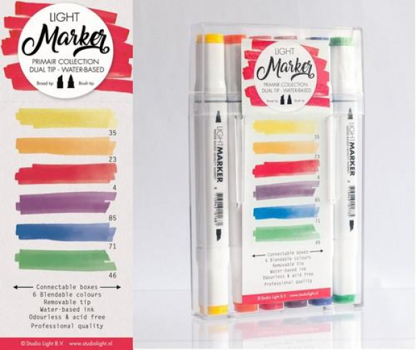 Studio Light Watercolor Marker dual tip water-based x6 Primair