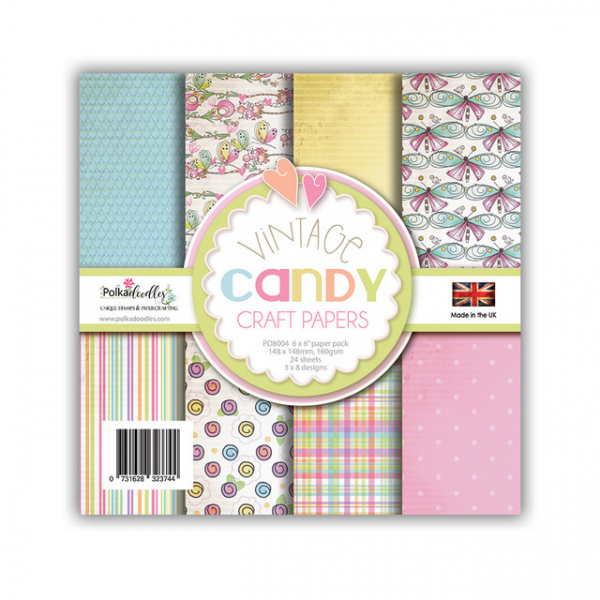 Polkadoodles Papierblock Vintage Candy Craft Papers 6x6""