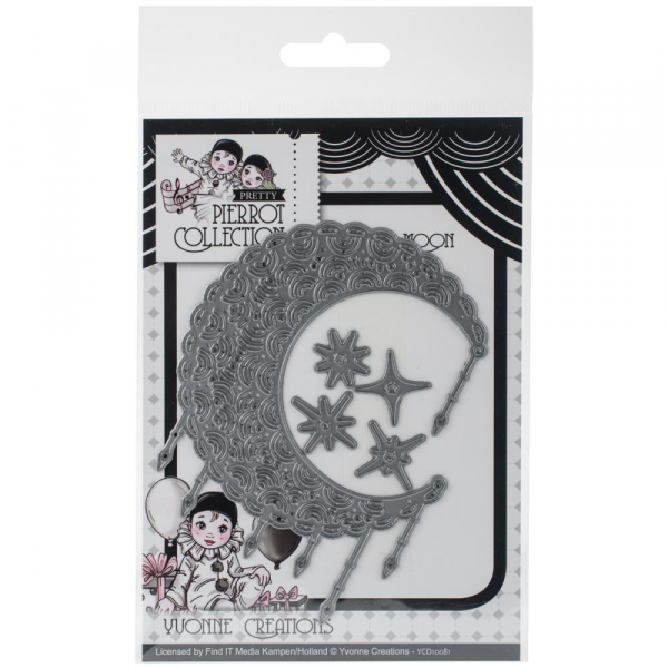 Yvonne Creations -  Stanzschablonenset Pretty Pierrot Filigraner Mond Filigree Moon Die