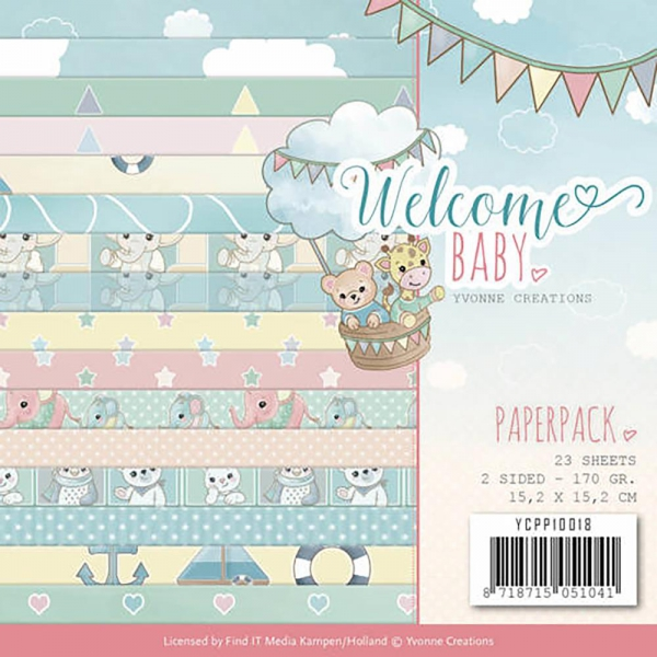 Yvonne Creations - Papierpack Welcome Baby 15x2x15.2cm