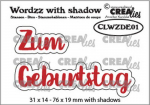 Crealies Stanzschablonenset Zum Geburtstag Wordzz with Shadow